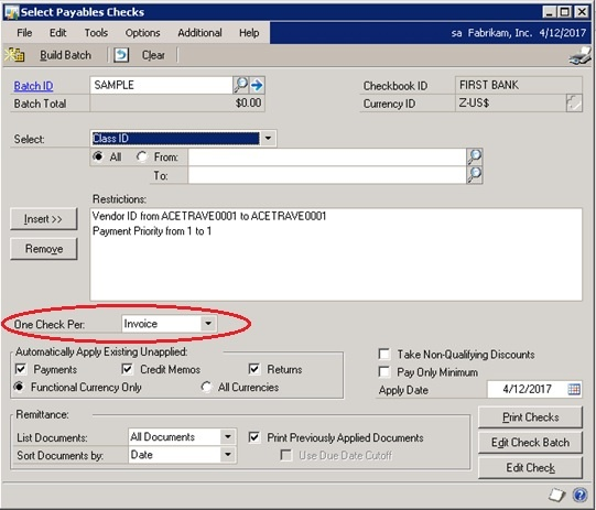 Dynamics GP Payables Management  Check Invoice